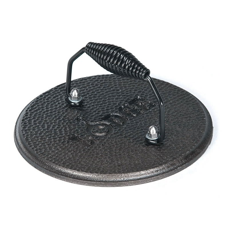 "Lodge LGPR3 7.5"" Round Cast Iron Grill Press w/ Cool Grip Spiral Handle & Hammered Finish"
