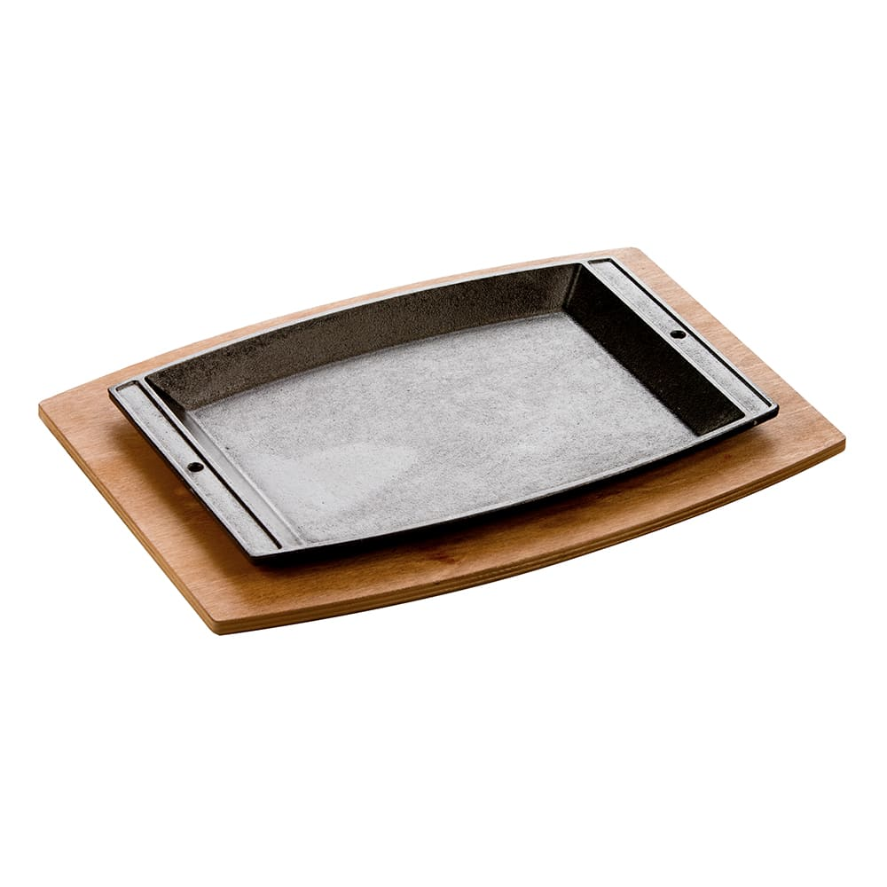 "Lodge LSC3SET Rectangular Sizzle Platter Set with Underliner - 11-5/8x7-3/4"" Cast Iron"