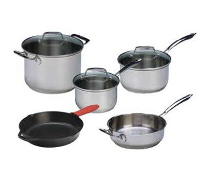 Lodge SC90SET Cookware Set w/ 2-Sauce Pans, 3-Lids, 2-Skillets & Stock Pot