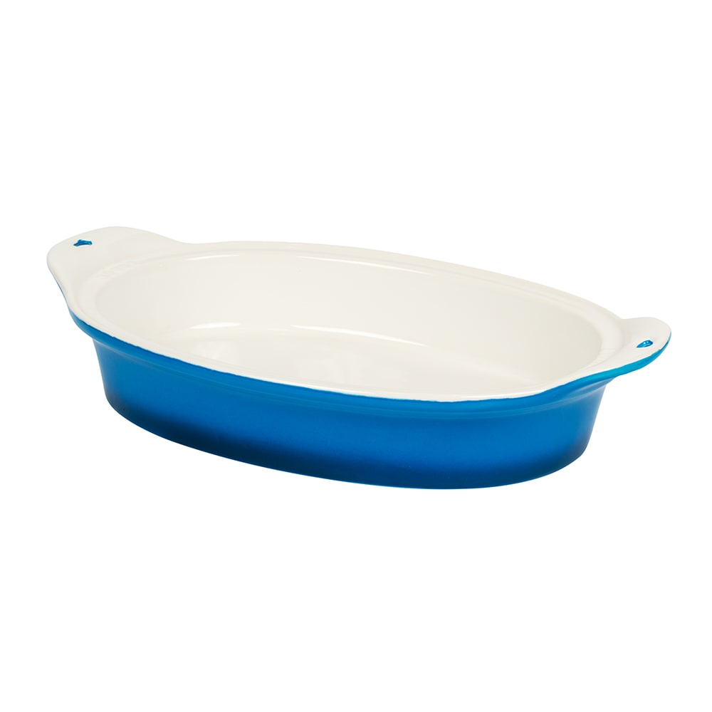 "Lodge STW110V33 Oval Baking Dish - 8"" x 11.75"", Stoneware, Blue"