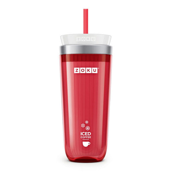Zoku ZK121RD 11-oz Iced Coffee Maker w/ Straw, Red