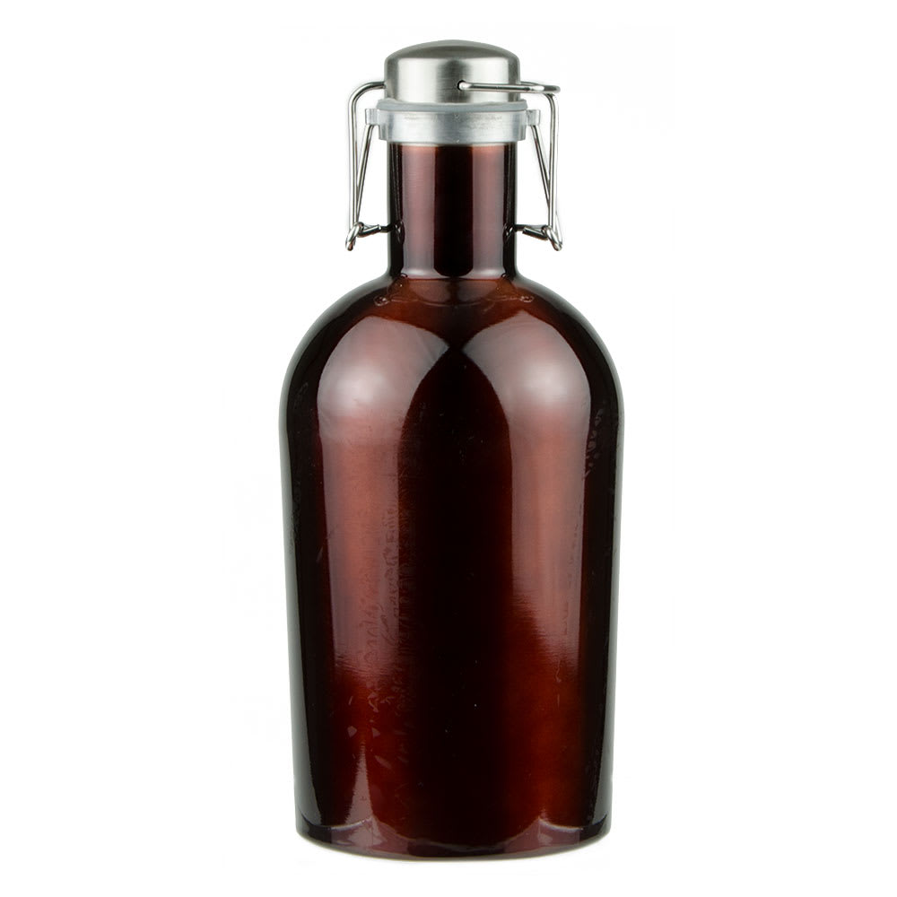Co-Rect Products G-64-BRN 64 oz Growler w/ Wire Flip Lid - Stainless Steel, Brown