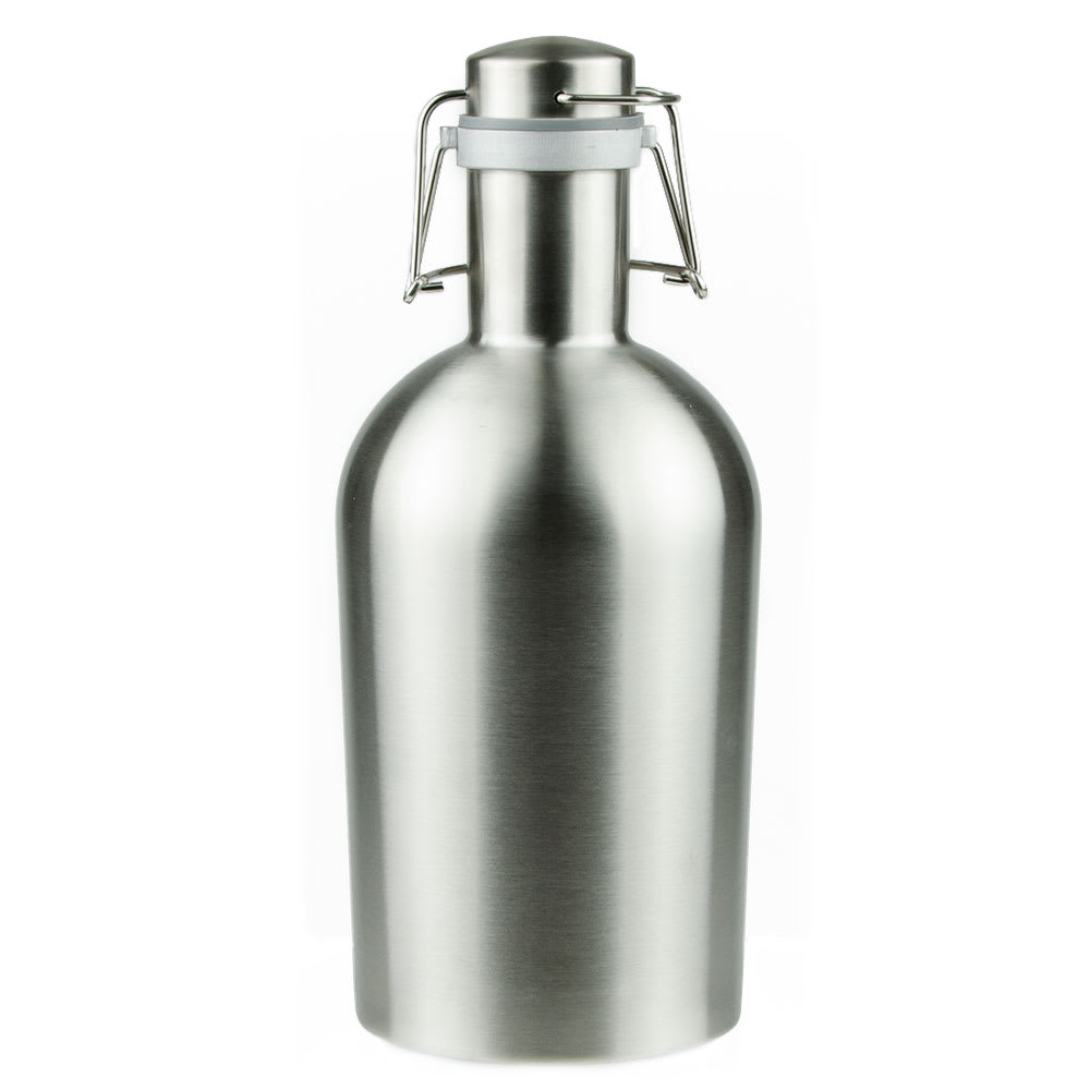 Co-Rect Products G-64-SS 64-oz Growler w/ Wire Flip Lid - Stainless Steel, Silver