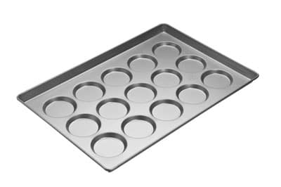Focus 902425 Hamburger Bun/Roll And Muffin Top Pan, Holds (15) 4 in Rolls, Aluminum