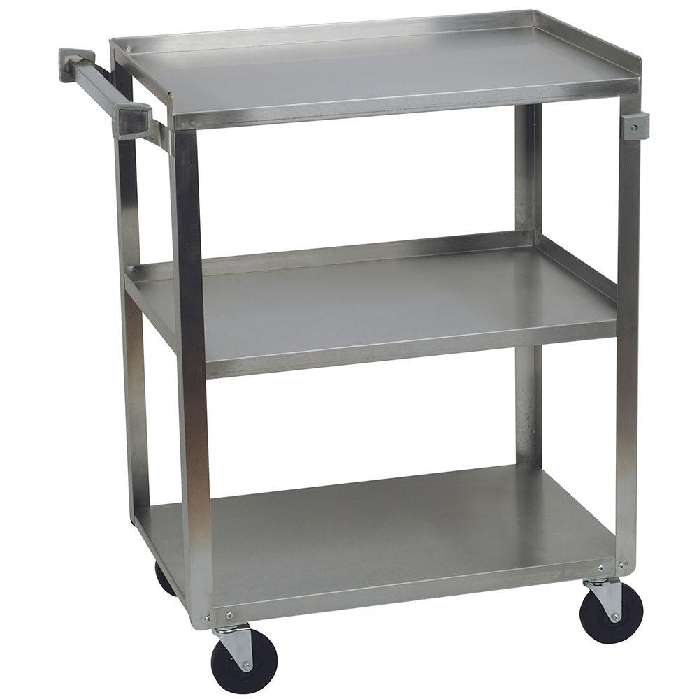 Focus 90312 3-Level Stainless Utility Cart w/ 300-lb Capacity, Raised Ledges