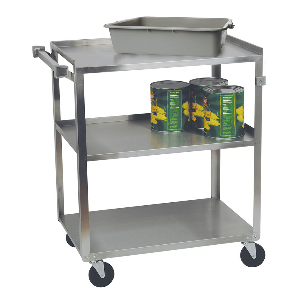 Focus 90322 3 Level Stainless Utility Cart w/ 300 lb Capacity, Raised Ledges
