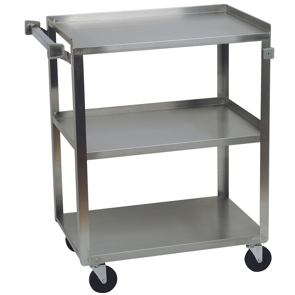 Focus 90411 3-Level Stainless Utility Cart w/ 500-lb Capacity, Raised Ledges