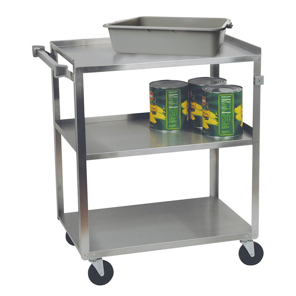 Focus 90422 3-Level Stainless Utility Cart w/ 500-lb Capacity, Raised Ledges