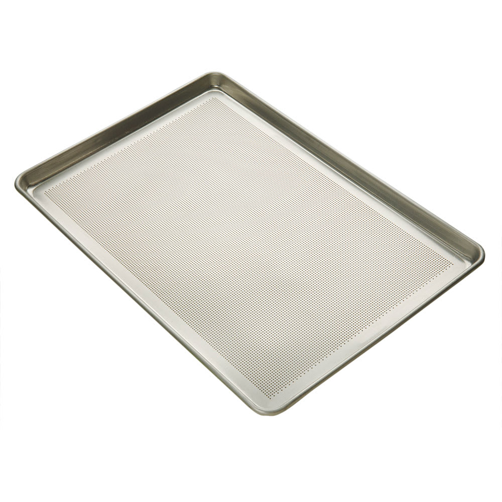 "Focus 904697 1/1 Full Size Bun / Sheet Pan - 26"" x 18"" x 1"", 16 gauge Aluminum, Perforated"