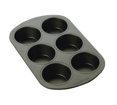 Focus 906206 Muffin Pan, 6 Cups, Carbon Steel w/ Non-Stick Coating