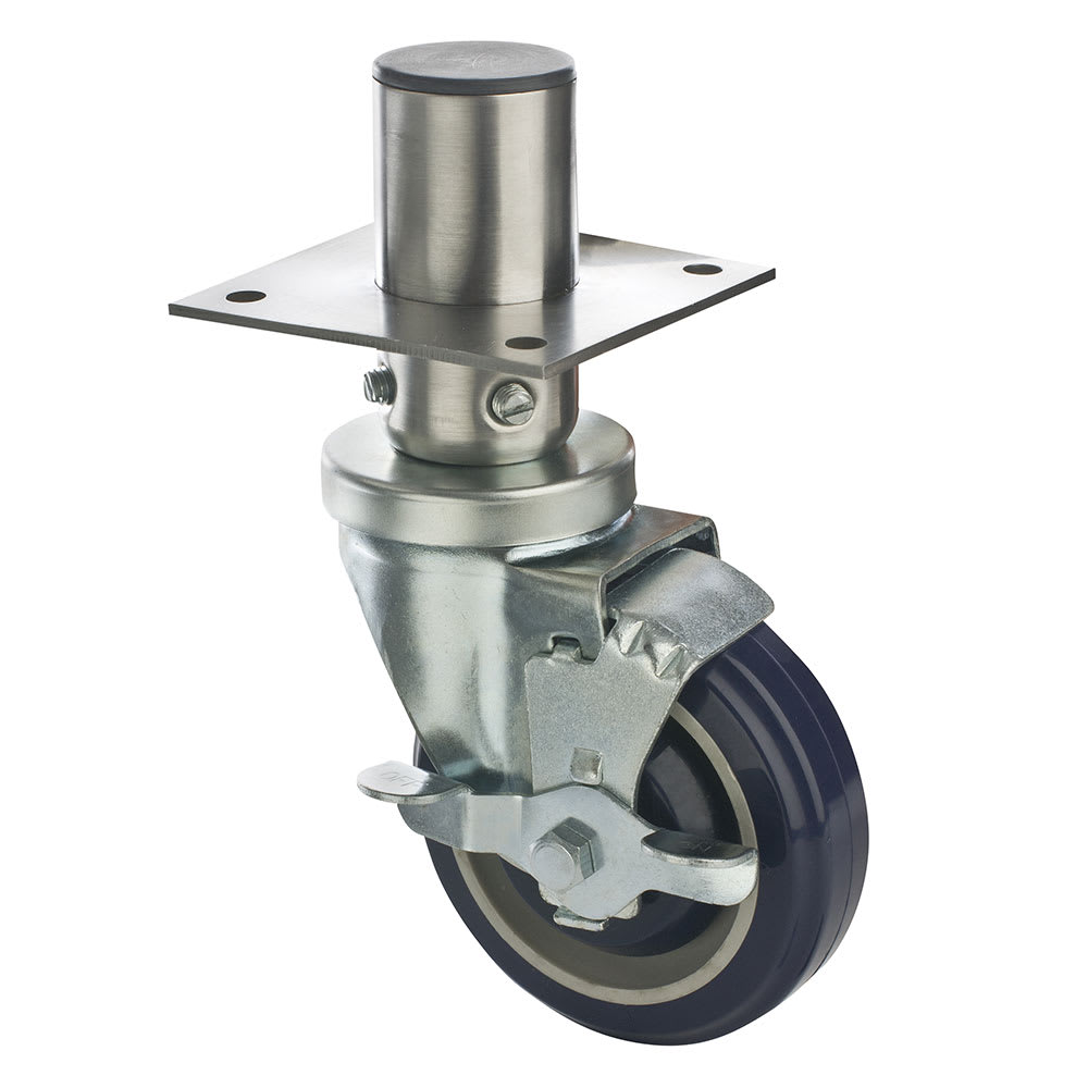 """Focus FAC4125 4"""" Adjustable Caster w/ Brake - 8"""" Overall Height, 220-lb Capacity"""