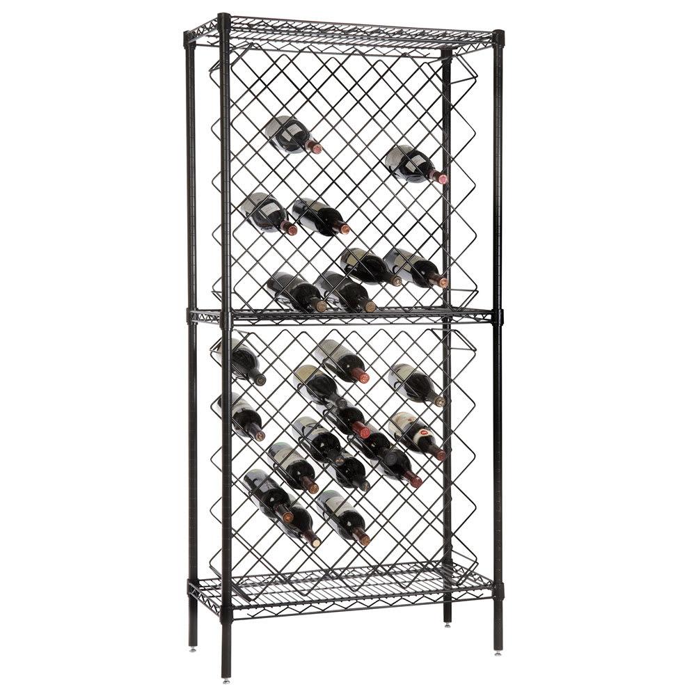 "Focus FDWR82BK 63""H Display Commercial Wine Rack w/ (82) Bottle Capacity, Black Epoxy"