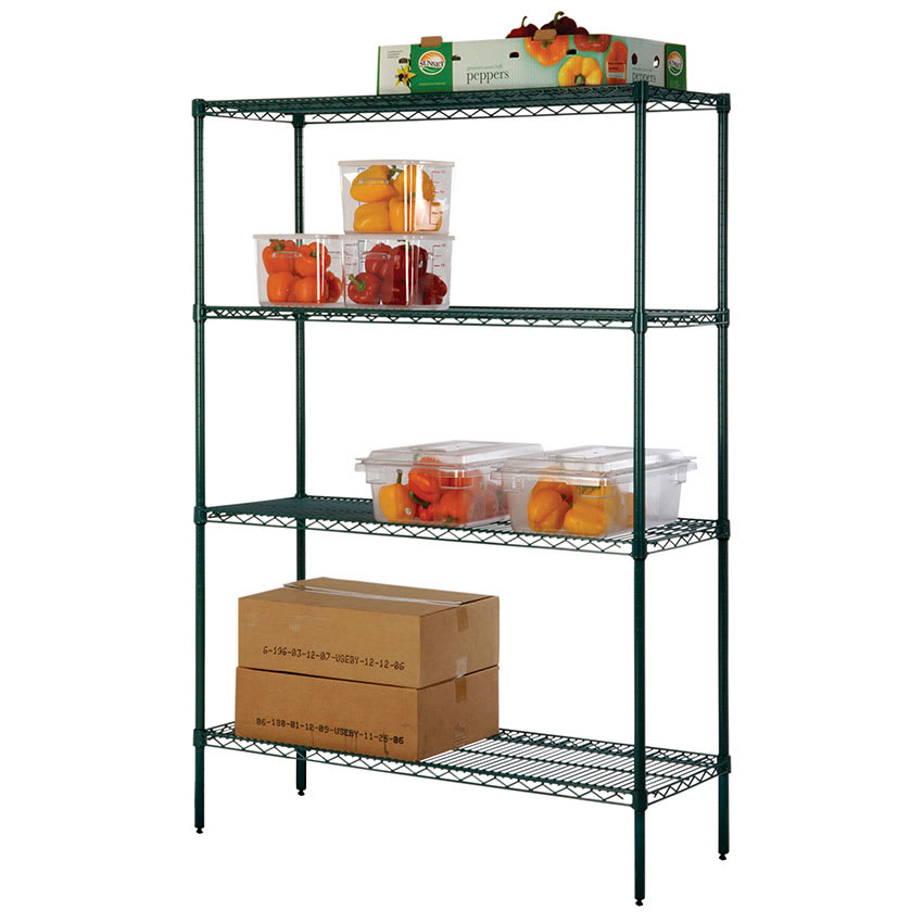 """Focus FK184874GN Epoxy Coated Wire Shelving Unit w/ (4) Levels, 18x48x74"""""""