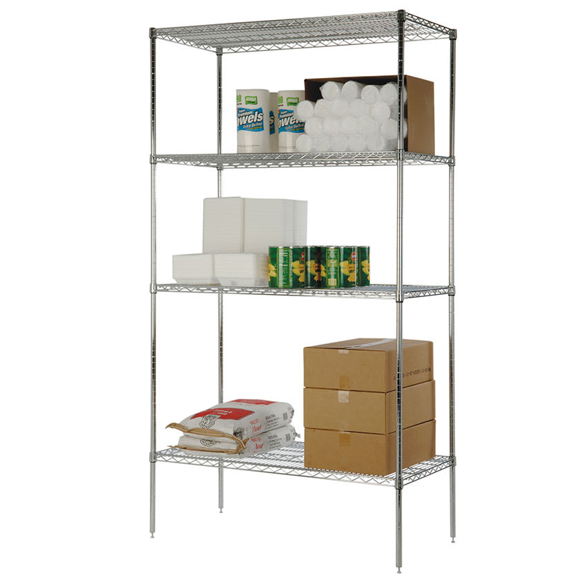 "Focus FK243674CH Chrome Wire Shelf Kit - 36""W x 24""D x 74""H"