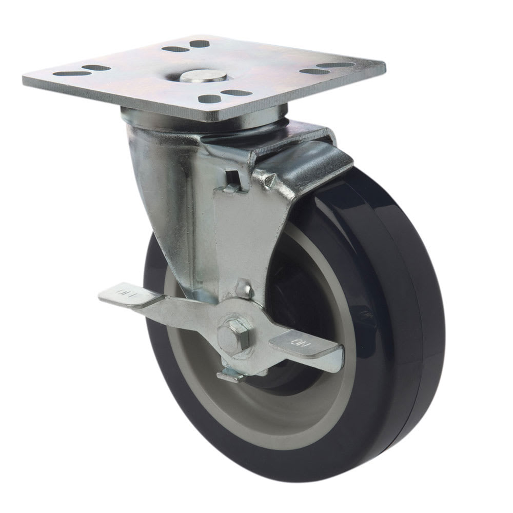 """Focus FPCST5HDE Universal Plate Caster w/ Brake & Heavy-Duty Mounting Plate, 5"""""""
