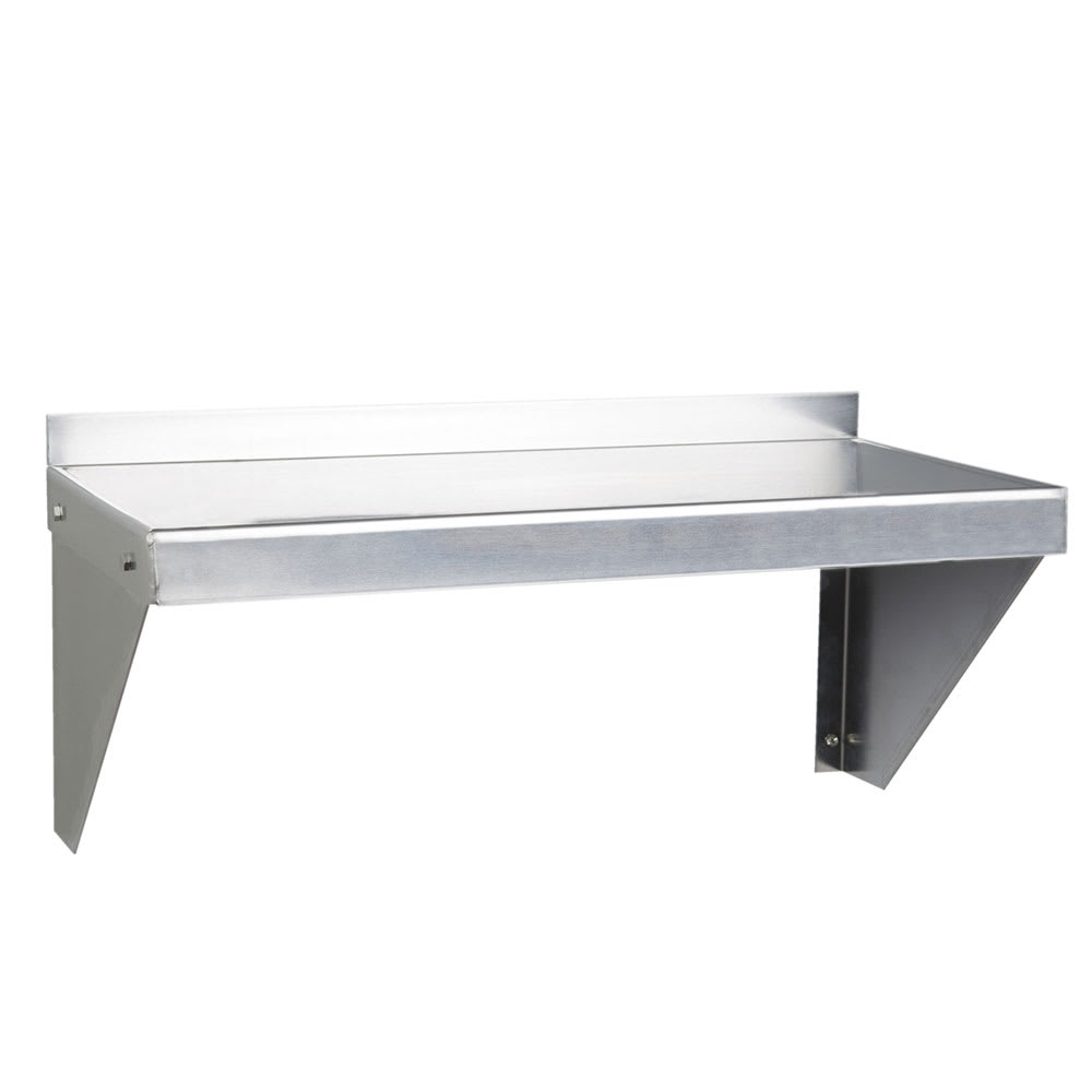 "Focus FWSAL1224 Solid Wall Mounted Shelf, 24""W x 12""D, Aluminum"