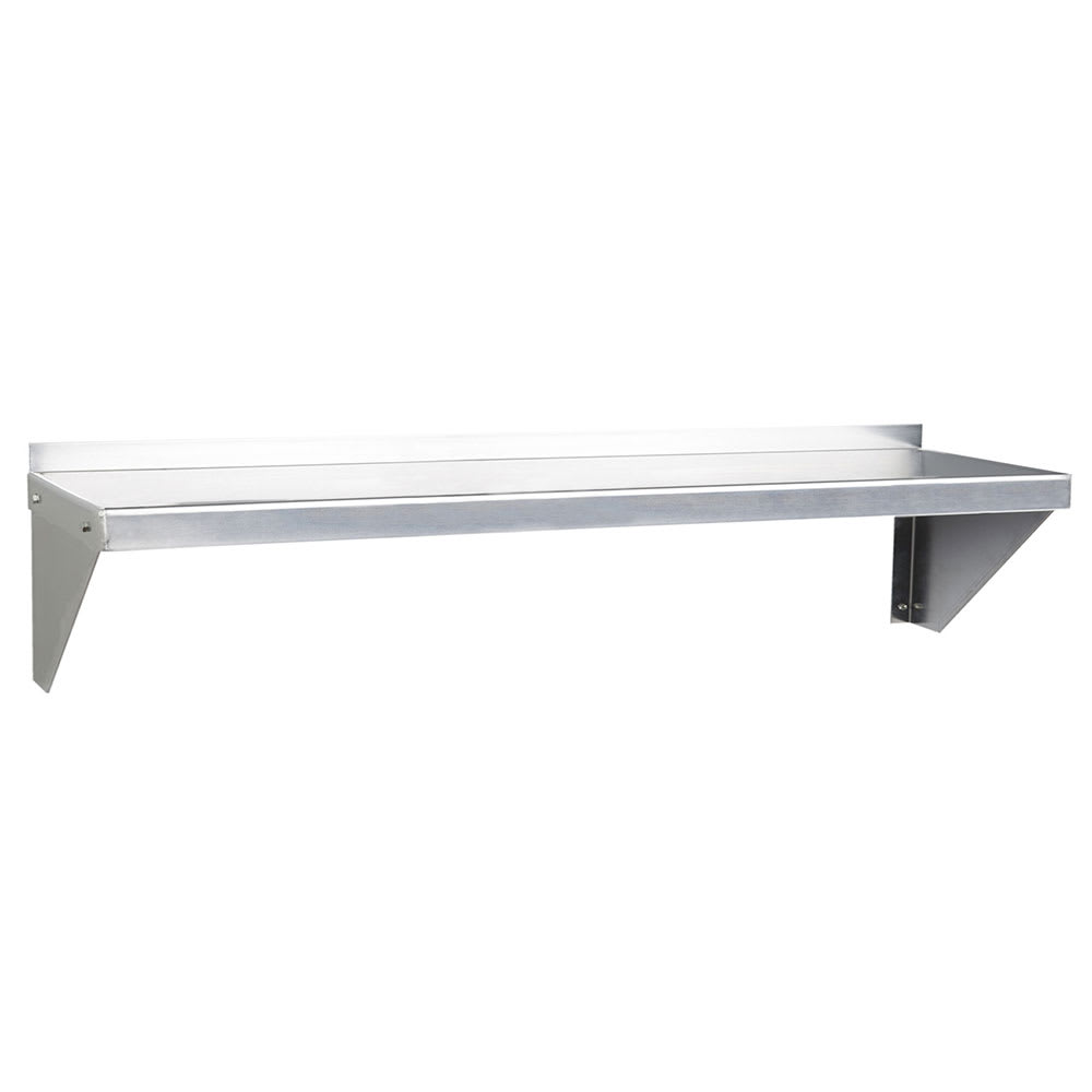 "Focus FWSAL1260 Solid Wall Mounted Shelf, 60""W x 12""D, Aluminum"