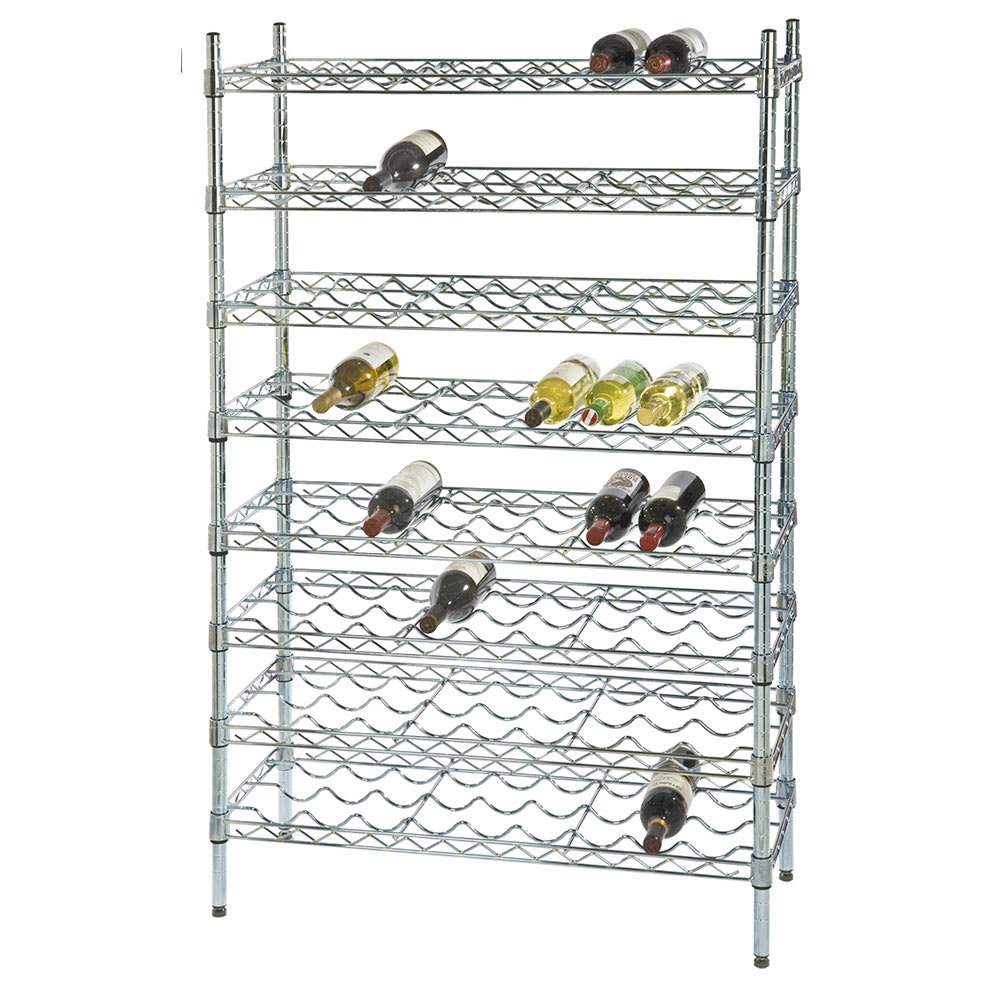 "Focus FWSK4854CH 54""H Commercial Wine Rack w/ (96) Bottle Capacity, Chrome"