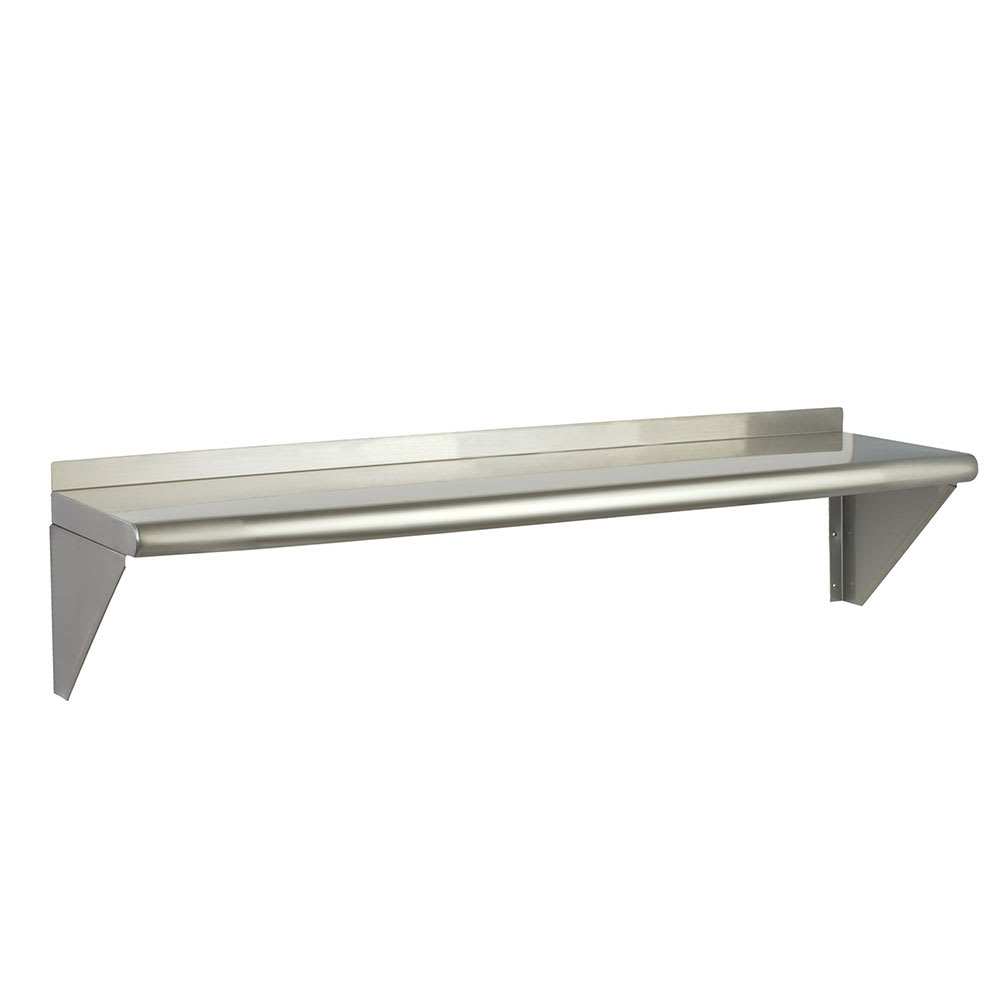 "Focus FWSSS1248 Solid Wall Mounted Shelf, 48""W x 12""D, Stainless"