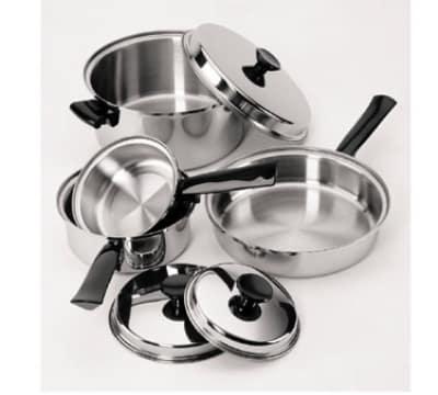 "Focus KB2740 10"" Stainless Steel Frying Pan w/ Solid Plastic Handle"