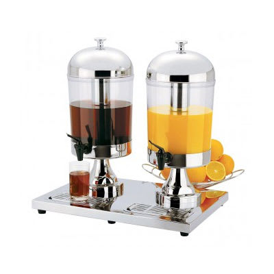 Focus KPW9502 8.5-qt Twin Station Juice Dispenser w/ Ice Inset & Drip Tray