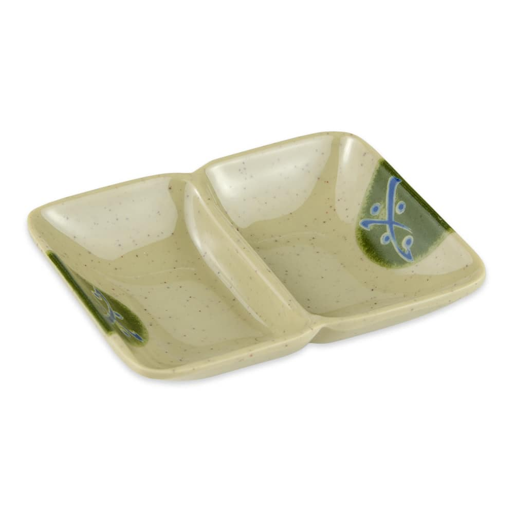 "GET 037-TD Rectangular Sauce Dish w/ (2) 1-oz Compartments, 4"" x 3"", Melamine"