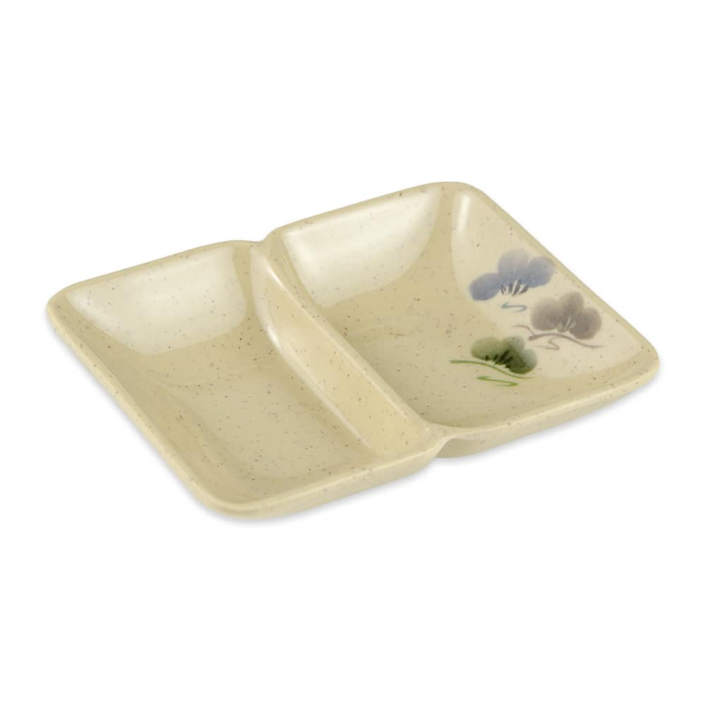 "GET 037-TK Rectangular Sauce Dish w/ (2) 1 oz Compartments, 4"" x 3"", Melamine"