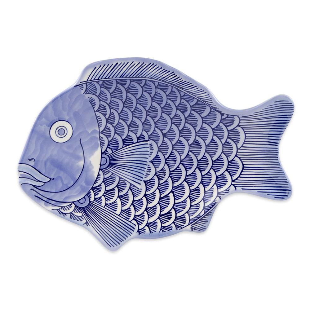 """GET 370-10-BL Fish Platter, 10"""" x 7"""", Melamine, Blue"""