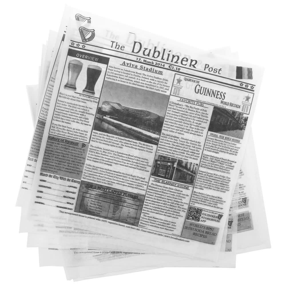 """GET 4-TD1900 12"""" Square Basket Liner Paper - Dublin Newsprint, White"""