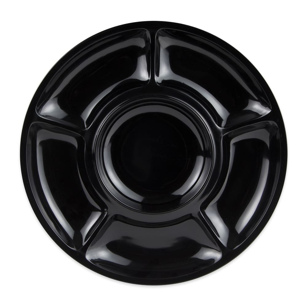 "GET APS-6-BK 14"" Round Plate w/ (6) Compartments, Melamine, Black"