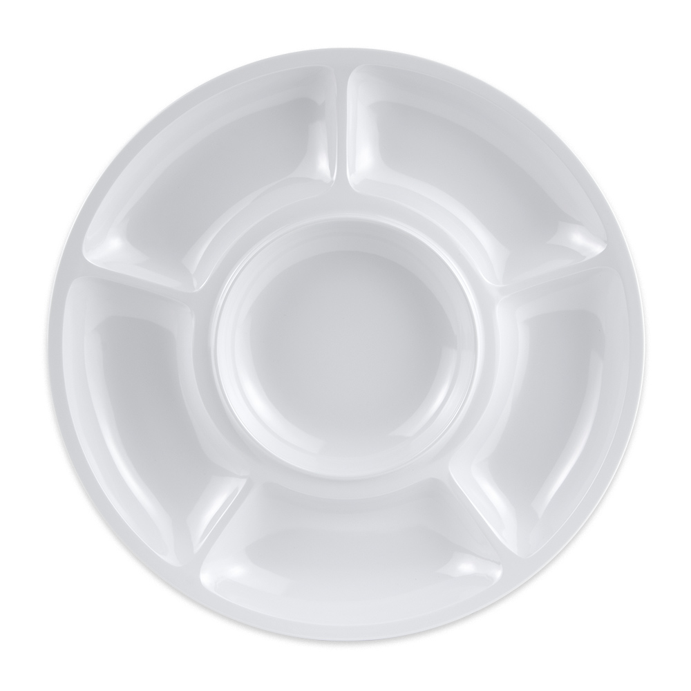 "GET APS-6-W 14"" Round Plate w/ (6) Compartments, Melamine, White"