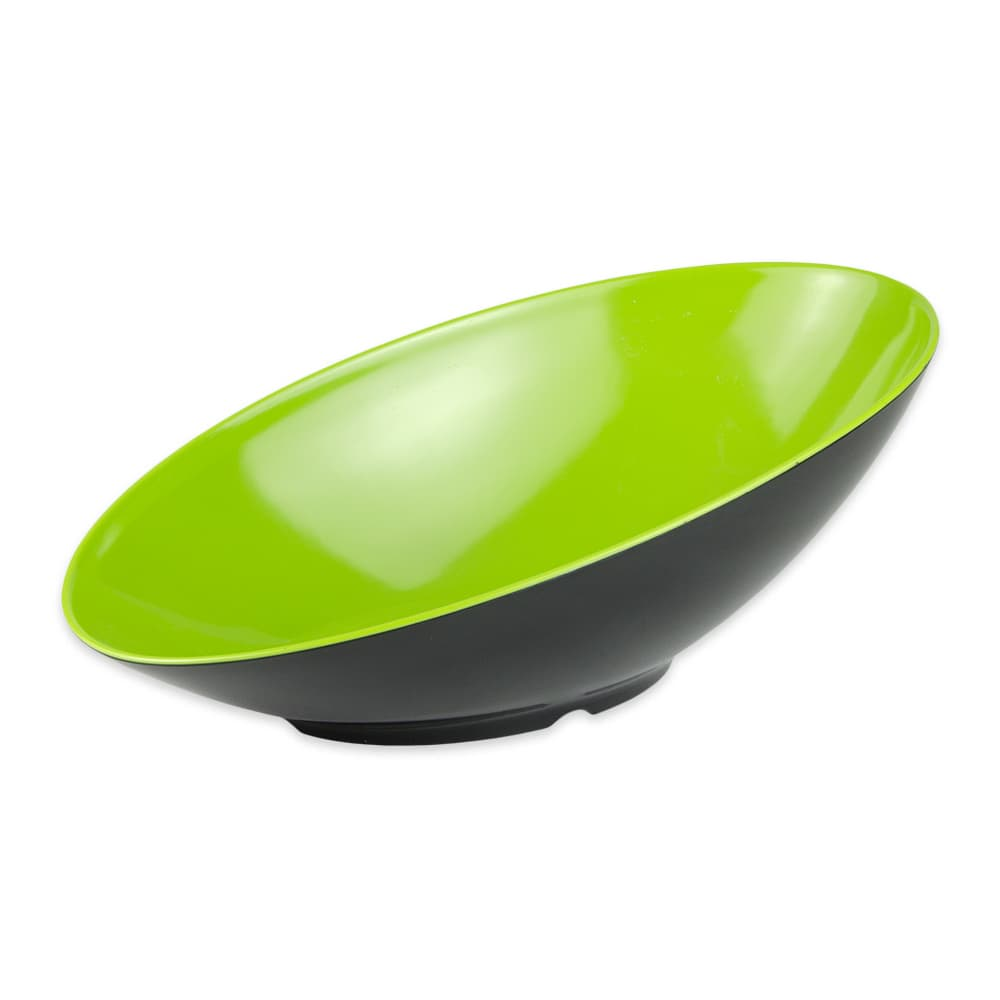 "GET B-797-G/BK Oval Fruit Bowl w/ 1.1-qt Capacity, 14"" x 8.75"" x 5"", Melamine, Green/Black"