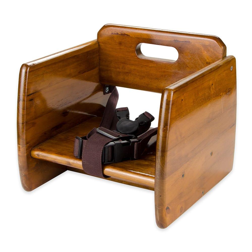 GET BS-200-W Single-Height Booster Seat w/ Waist Strap - Wood, Walnut