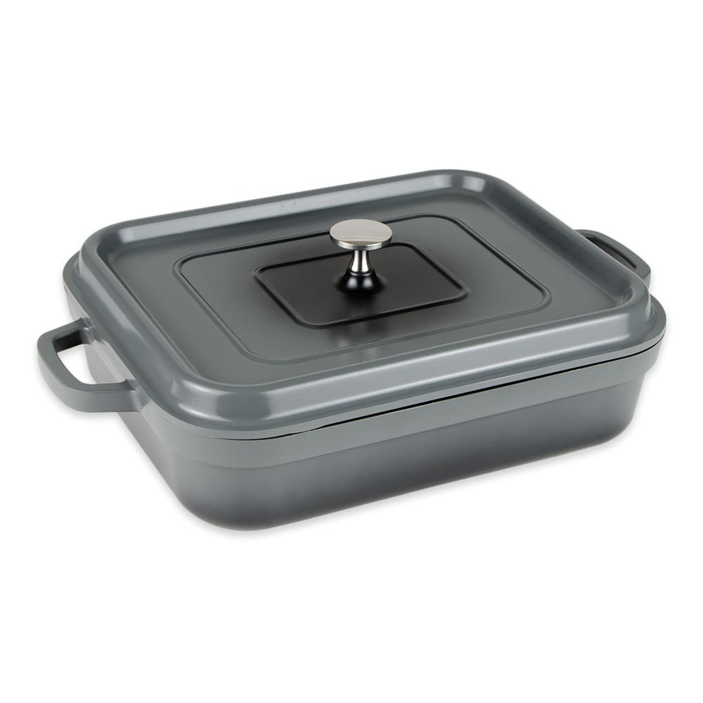 GET CA-010-GR/BK 5 qt Induction Roasting Pan - Aluminum w/ Ceramic Coating, Gray