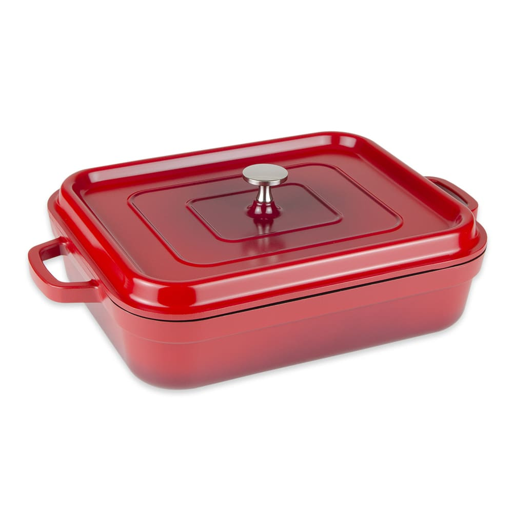 GET CA-010-R/BK 5-qt Induction Roasting Pan - Aluminum w/ Ceramic Coating, Red