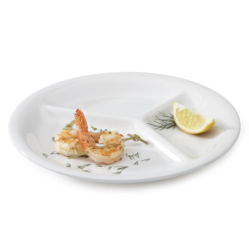 """GET CP-10-DW 10-1/4""""3-Compartment Plastic Plate, White"""