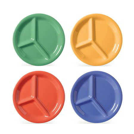 """GET CP-10-MIX (4) 10.25"""" Round Dinner Plate w/ (3) Compartments, Melamine, Multi-Colored"""