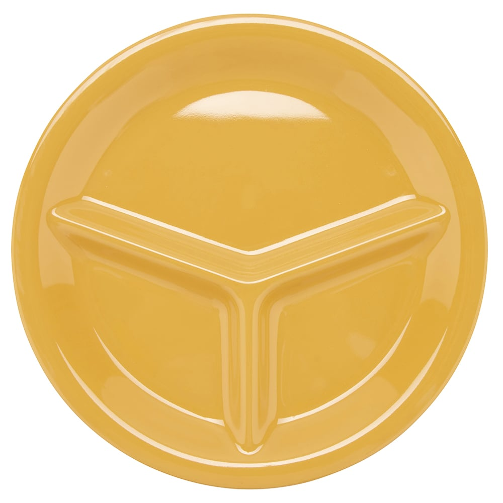 "GET CP-10-TY 10.25"" Round Dinner Plate w/ (3) Compartments, Melamine, Yellow"