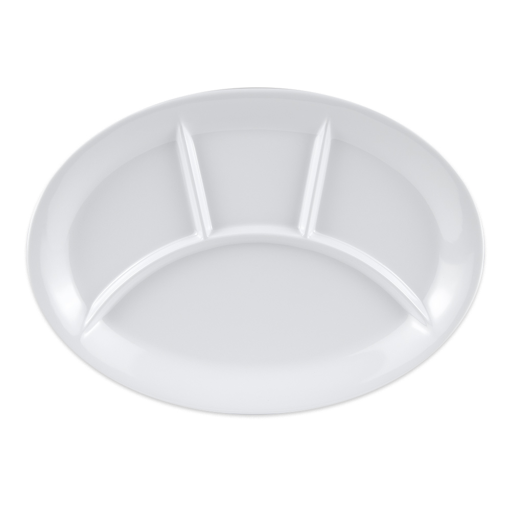 "GET CP-134-W Oval Dinner Plate w/ (4) Compartments, 13"" x 9.5"", Melamine, White"