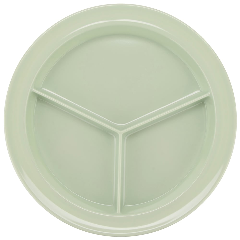 "GET CP-530-G 9"" Round Dinner Plate w/ (3) Compartments, Melamine, Green"