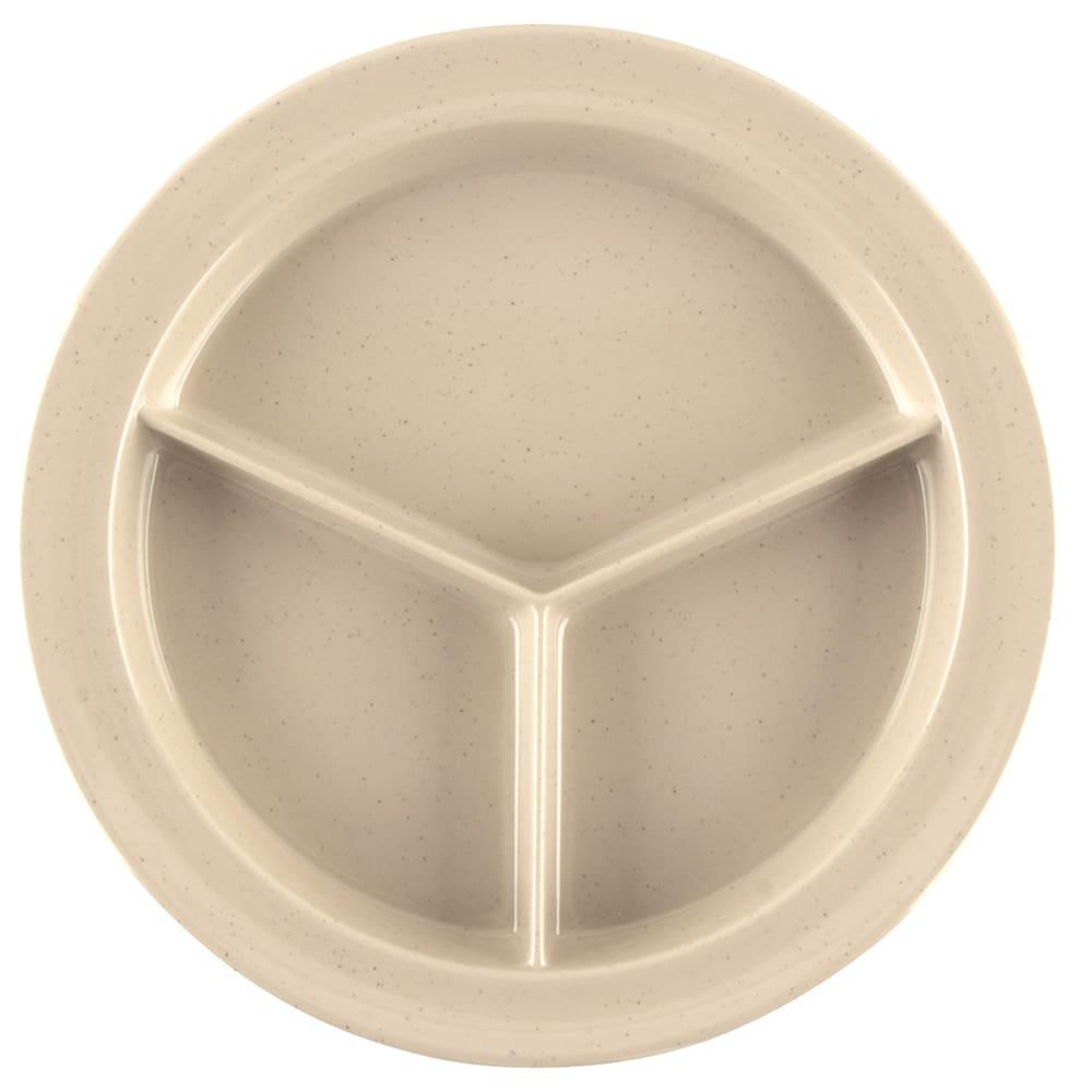 "GET CP-530-S 9"" Round Dinner Plate w/ (3) Compartments, Melamine, Sandstone"