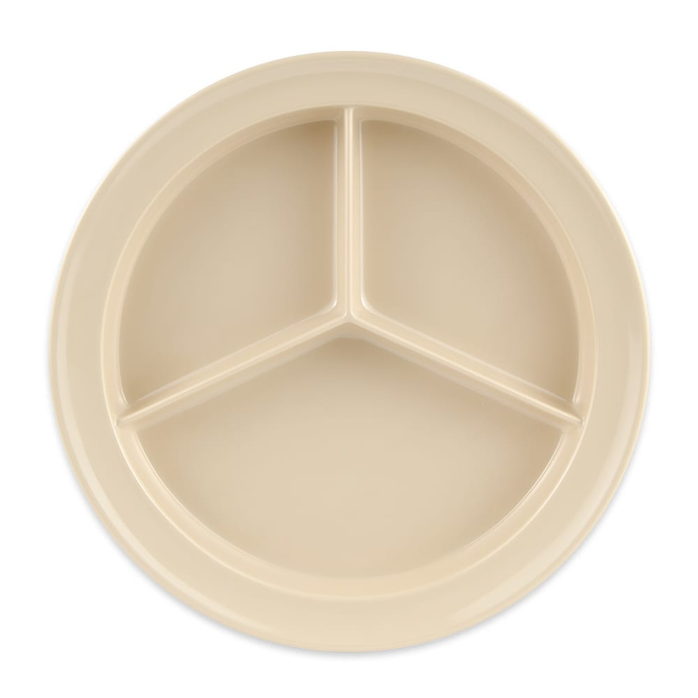 "GET CP-530-T 9"" Round Dinner Plate w/ (3) Compartments, Melamine, Tan"