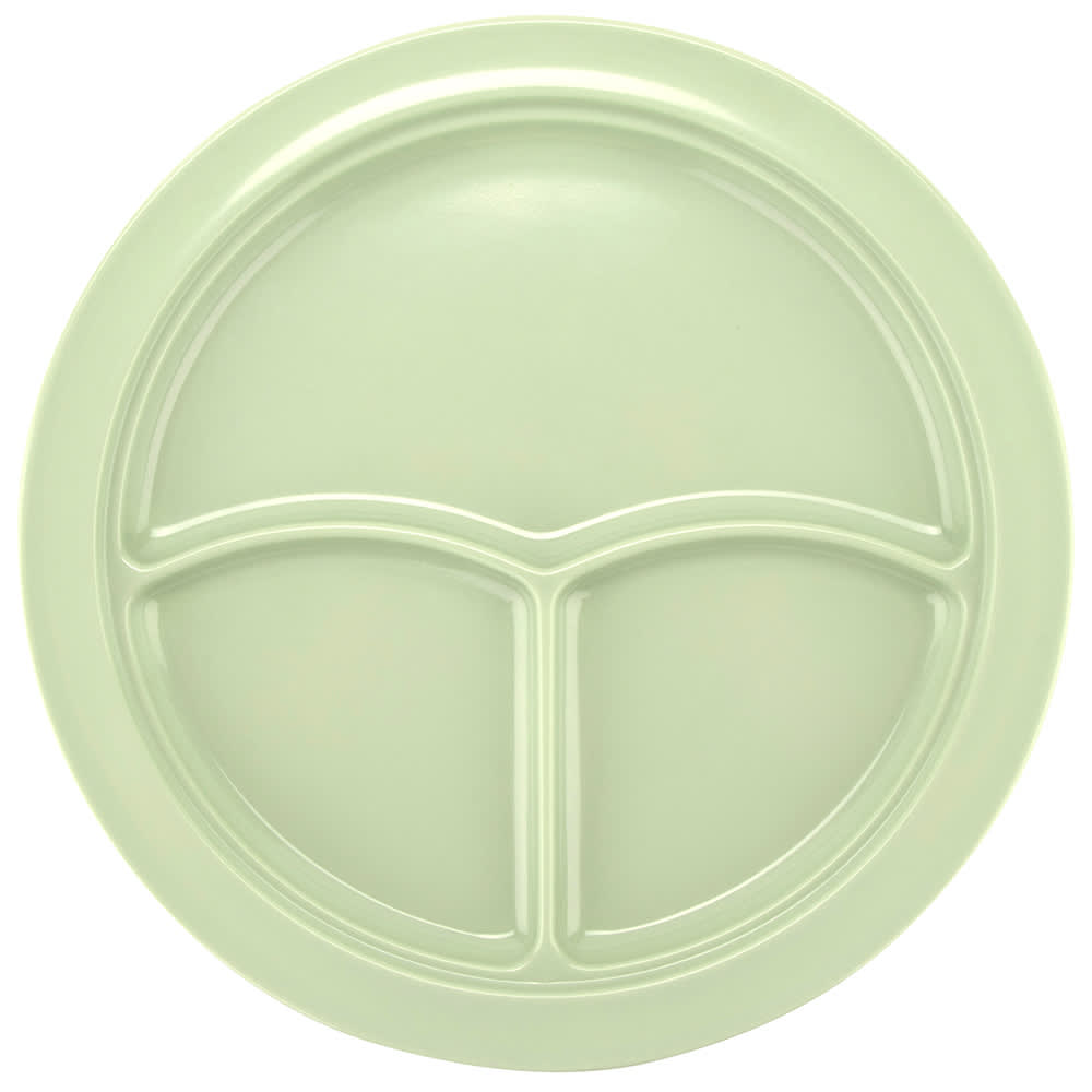 "GET CP-531-G 10"" Round Dinner Plate w/ (3) Compartments, Melamine, Green"
