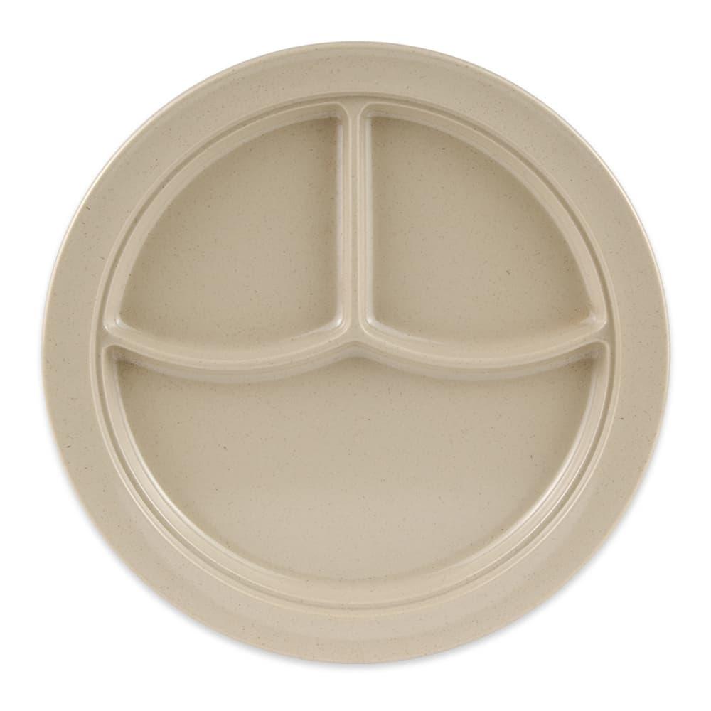 "GET CP-531-S 10"" Round Dinner Plate w/ (3) Compartments, Melamine, Sandstone"