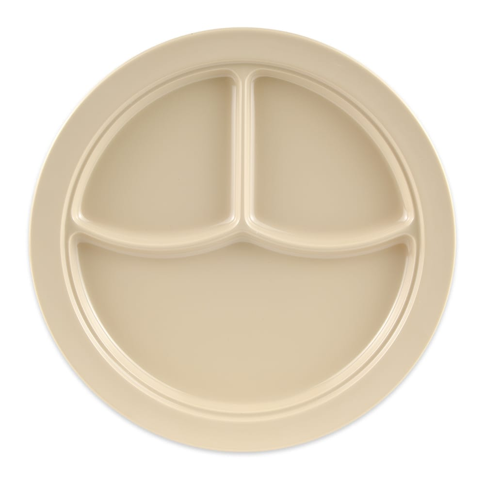 "GET CP-531-T 10"" Round Dinner Plate w/ (3) Compartments, Melamine, Tan"