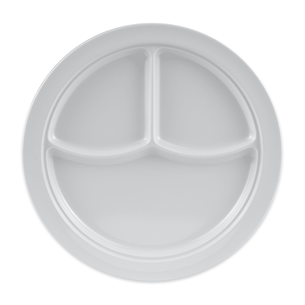 "GET CP-531-W 10"" Round Dinner Plate w/ (3) Compartments, Melamine, White"