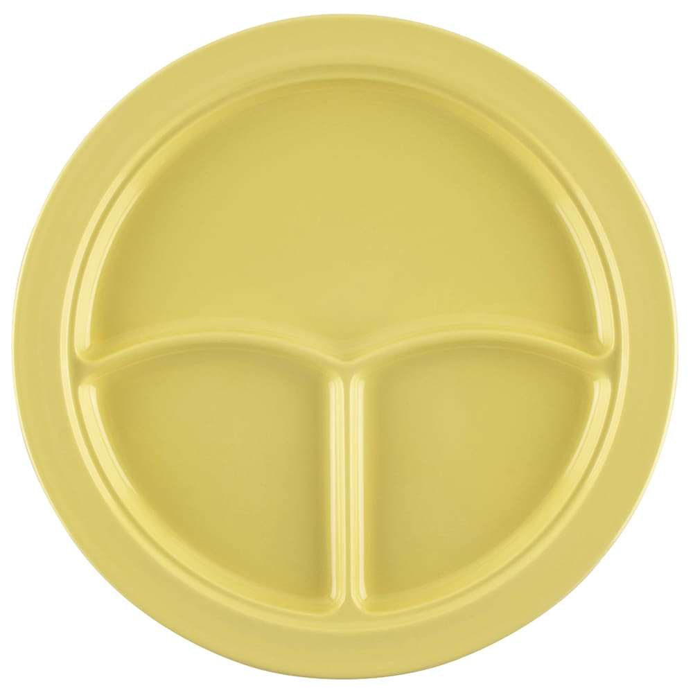 "GET CP-531-Y 10"" Round Dinner Plate w/ (3) Compartments, Melamine, Yellow"