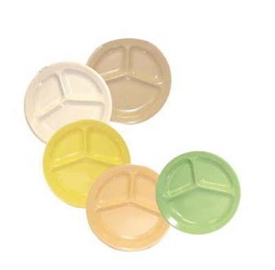 """GET CP-532-G 11""""3-Compartment Plastic Plate, Green, Supermel"""