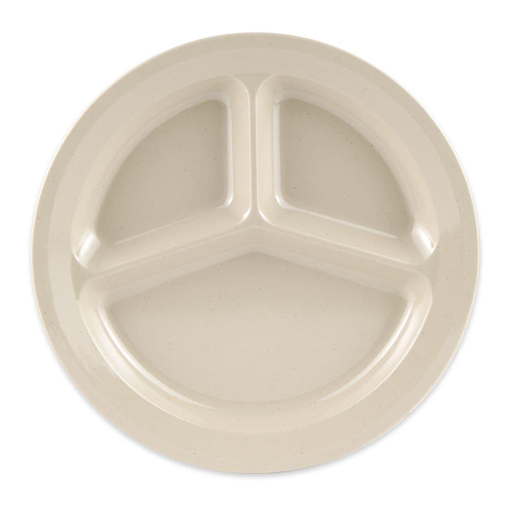 "GET CP-532-S 11"" Round Dinner Plate w/ (3) Compartments, Melamine, Sandstone"