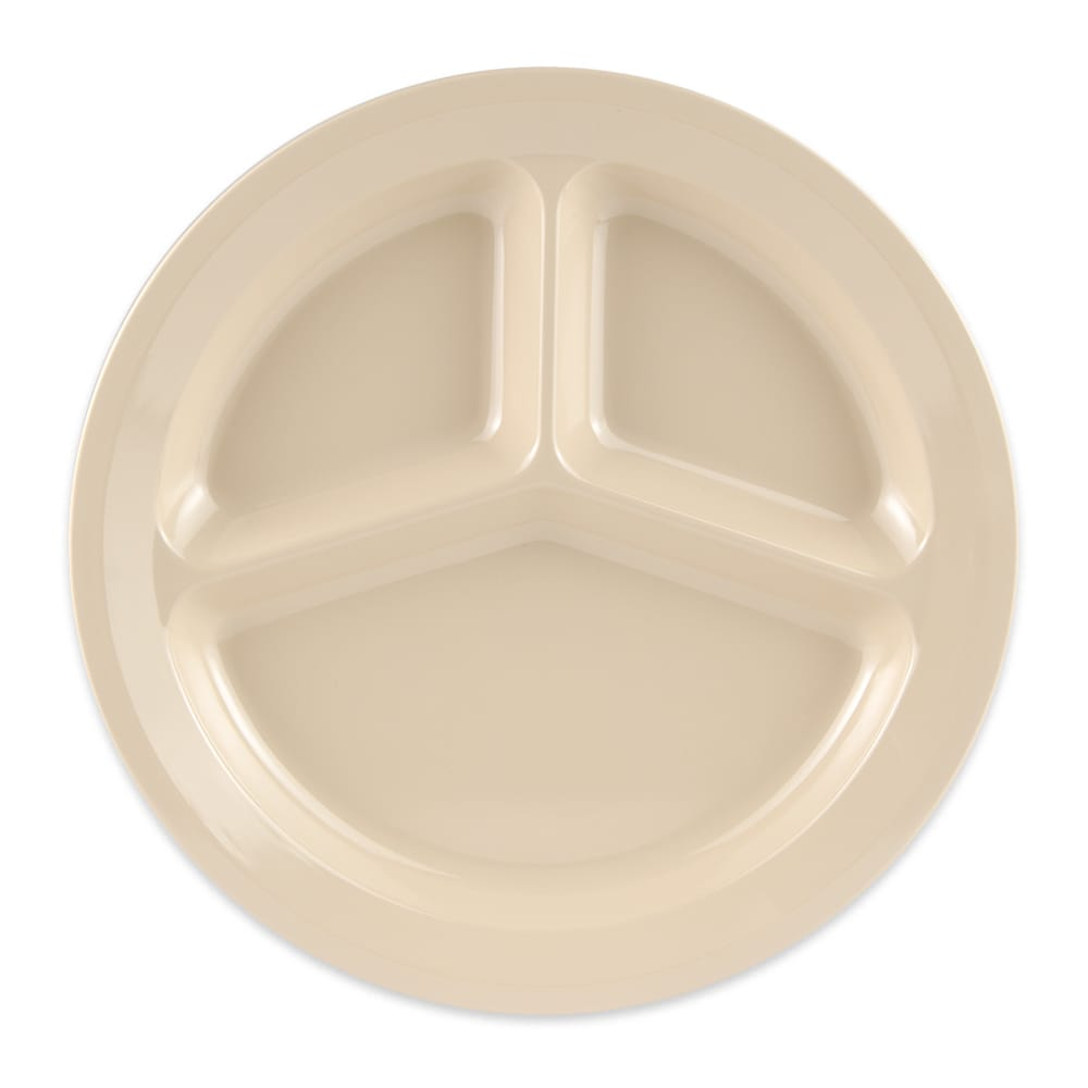 """GET CP-532-T 11"""" Round Dinner Plate w/ (3) Compartments, Melamine, Tan"""